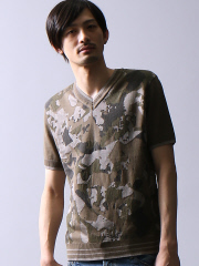 5351POUR LES HOMMES - カモフラジャガードカットソー
